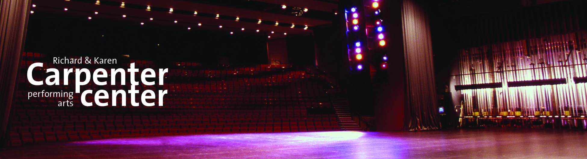 Carpenter Center logo on an image of the stage
