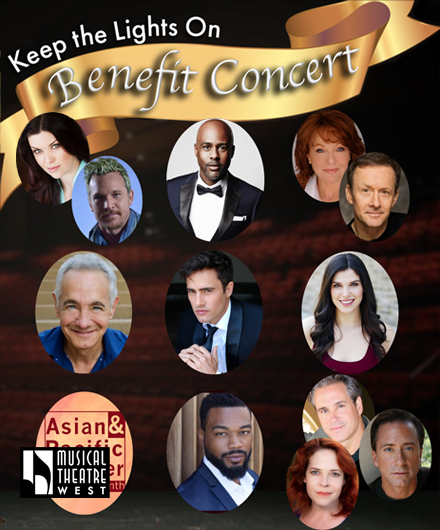 A composite image of performers participating in Musical Theatre West's benefit concerts.