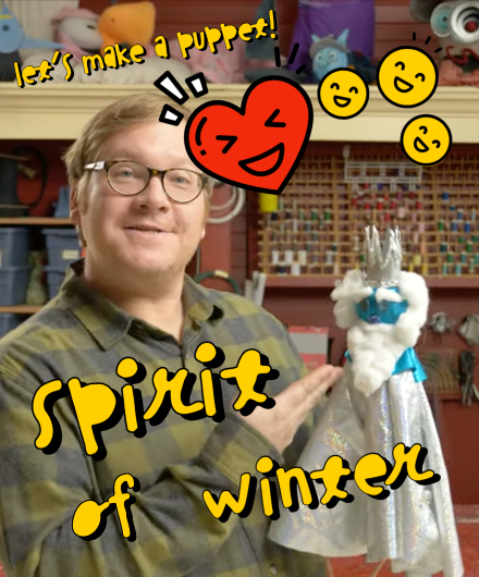 A member of Mermaid Theatre creating a puppet